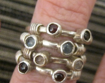 Silver rings with gemstones . Stackable gemstone rings.  Special order Maria