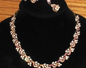 Vintage Coro Pink Enamel and Crystal Necklace and Earrings
