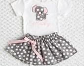 Personalized Elephant Onesie or Tshirt Skirt Set