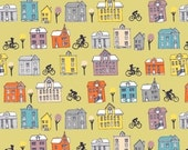 "Windham Fabrics ""Ride"" by Julia Rothman Houses on Yellow"