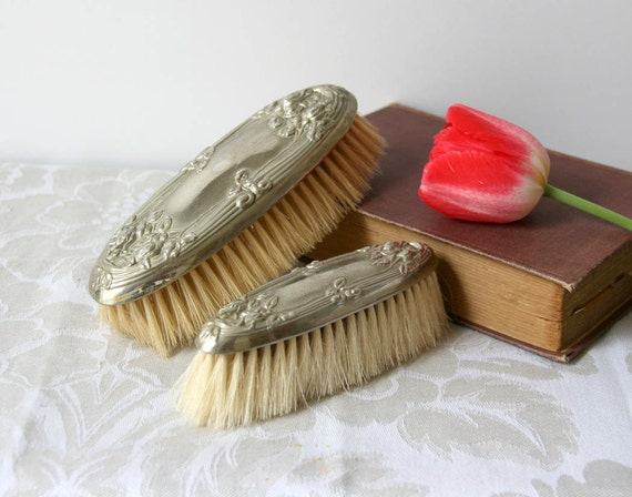 vintage silver plate clothes brush gray grey womens