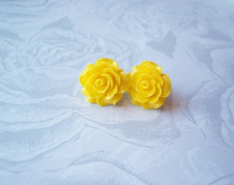 New Large Yellow Rose Earrings