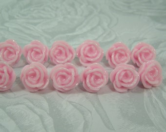 12 Pink Flower Push Pins or Magnets