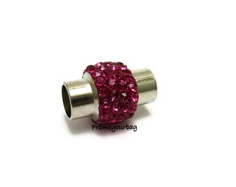 2 Zamak magnetic clasp silver plated with crystal Pink for leather. ø 5.5mm (ZK330)