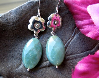 ON SALE!! Dangle Earrings with Green Jasper
