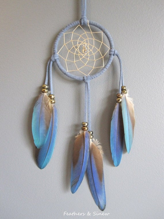 Denim Suede Dream Catcher with Blue Macaw Parrot Feathers