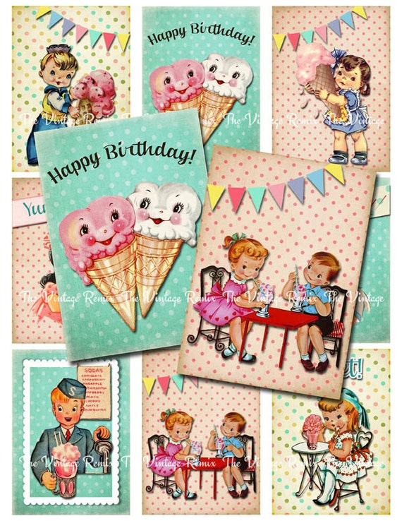 Digital Collage Sheet, Retro Vintage Birthday Party, Ice Cream Kids, Printable Digital Download for Tags, Cards, Labels. ATC ACEO