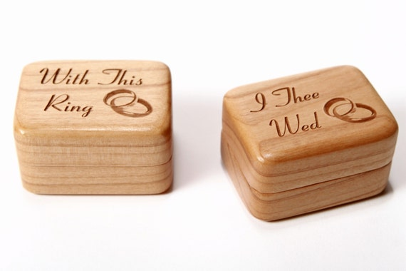 Custom Engraved Ring Boxes, Personalized Ring Storage Boxes, Wedding Ring Boxes, Ring Bearer Pillow Alternative, Ring Holder, 2 Ring Boxes