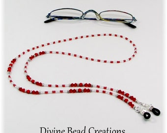 Red Austrian Crystal Swarovski Beaded Eyeglass Chain Leash Holder Lanyard