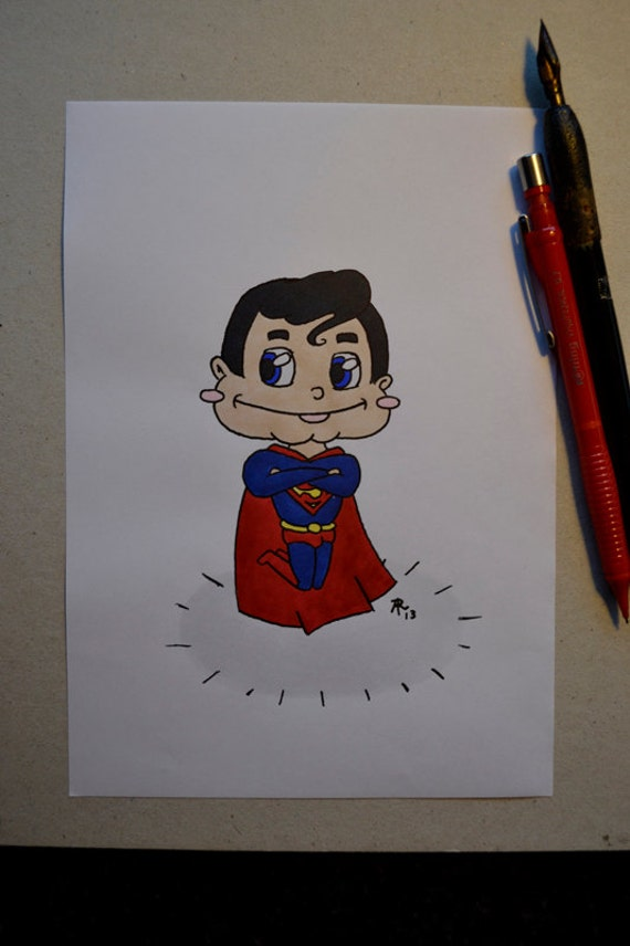 Superman Chibi Drawing Chibi Superman Marker/ink