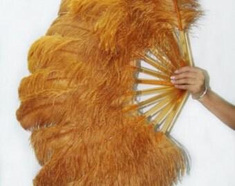 "Topaz single layer Ostrich Feather Fan Burlesque Dance costume 25""x45"""