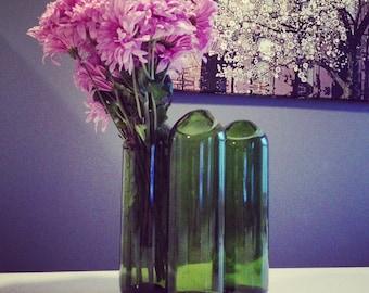 Handmade Flower Vase from Recycled Red Wine Bottle