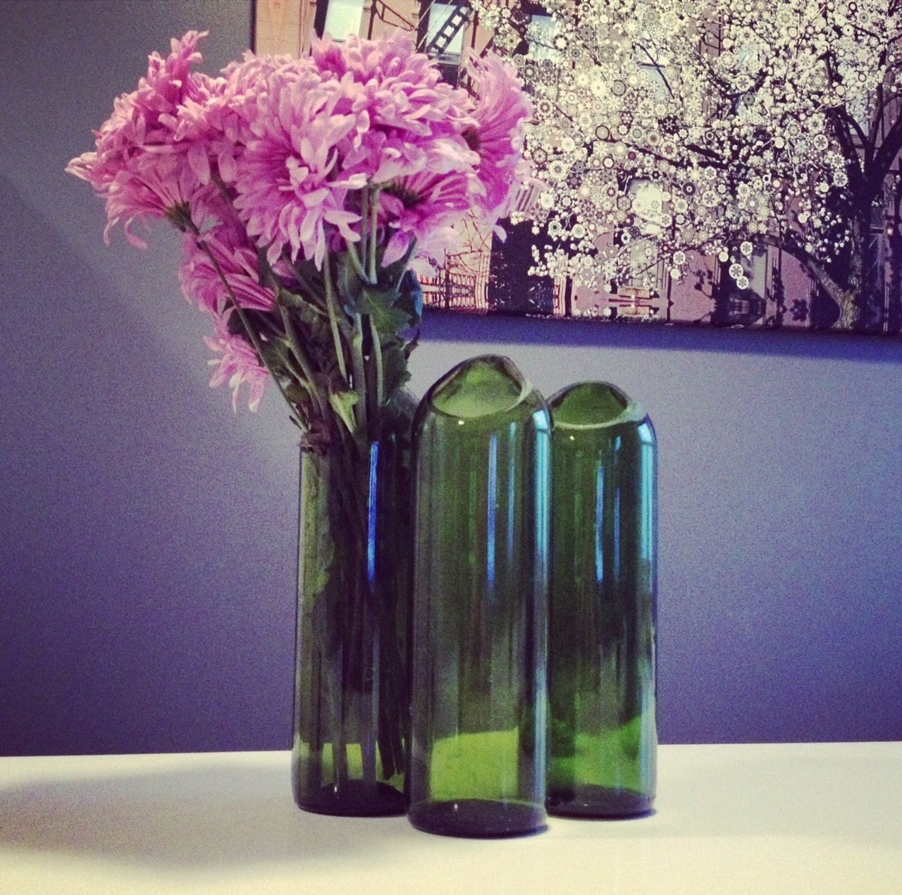 Handmade flower vase from recycled red wine bottle for Wine bottle flower vase