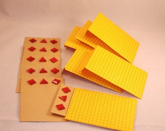 6 Blank Red Jeweled Cards & Matching Envelopes - Repurposed Yellow Grid Paper