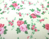 SALE Japanese fabric Flower Rose Ivory x Pink FQ TP053