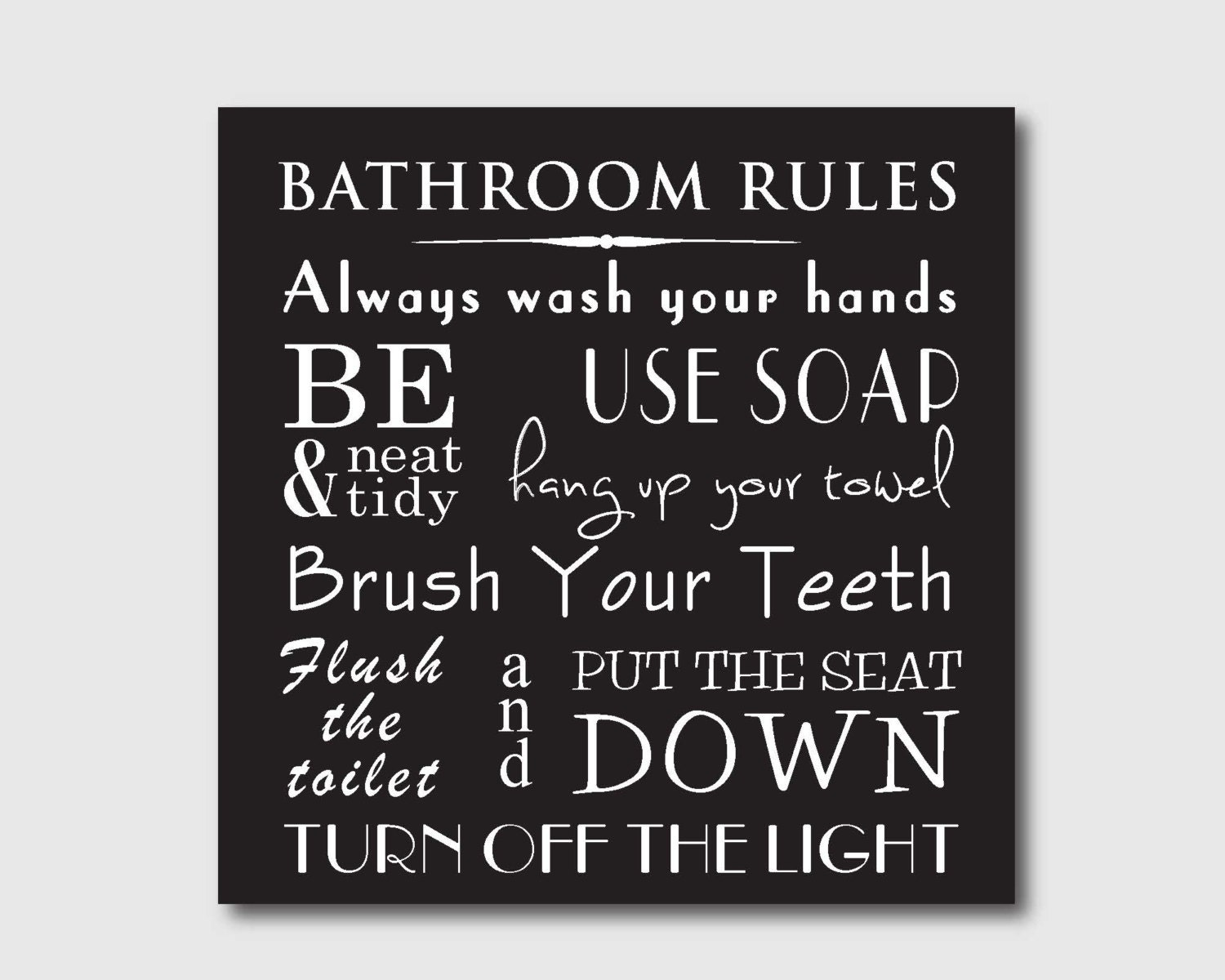 Bathroom Rules Wall Decor : Typography art print bathroom wall rules