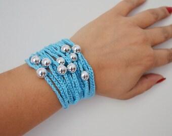 Mint Blue Hand-crochet Rope Bracelet with silvery beads, beach,boho, lolita,wristband,wriststrap