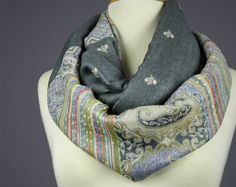 SPECIAL OFFER Stone gray  infinity scarf , medium weight, ethnic