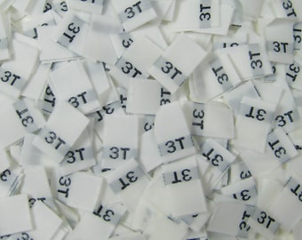 250 pcs White Woven Sewing Clothing Labels, Toddler Size Tags - 3T