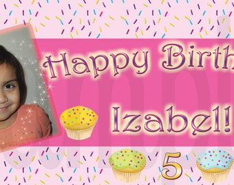 Cupcake Birthday Personalized Large 2x4 Custom Vinyl Banner