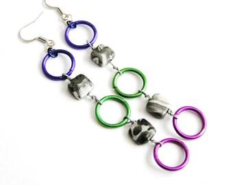 Blue, Green, & Purple Aluminum Rings w Black Tree Agate Dangle Earrings- 3 inches long