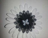 Black and White Butterfly Pin-up Hair Flower