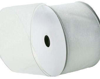Wired Edge Organza Ribbon - White Roll of Ribbon - 25 yards