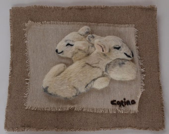 Irish Original Felt Needle Felted Painting by CORINA HOGAN Nestling Lambs OOAK - Made To Order In 3 Days