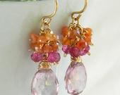 Reserved Listing For Avenger Only  -  Pink  Gemstone Earrings, Gemstone Cluster , Pink Orange Dangle Earrings