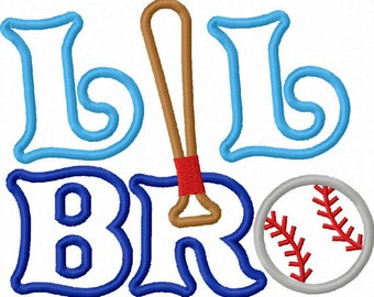 Instant Download Little Brother With Baseball  Applique Machine Embroidery Design NO:1290