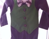 Custom order for atittle04 - green vest and gray chevron bow tie onesie with gray buttons