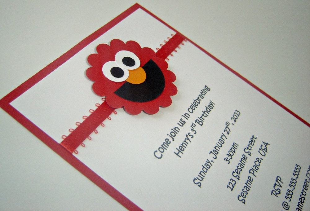 Elmo Sesame Street Birthday Invitation 1 – Homemade Elmo Birthday Invitations