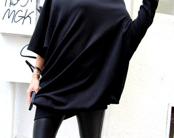 Oversized Black Asymmetryc Top / Both short and long sleeves / Casual Loose Blouse A01101
