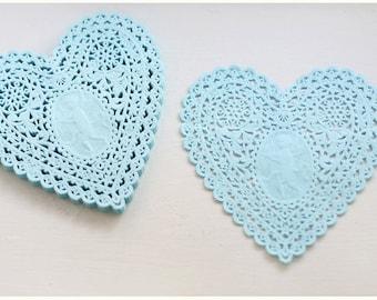 SALE 14.5cm Blue Heart  Doily Paper -120sheets (03)