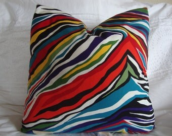 "Rainbow zebra pillow cover- Set of two-16""x16""- Alexander Henry"