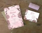 DIY Printable Wedding Invitation Hummingbird - 4 pieces