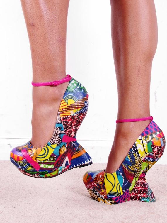 Ankara African Print Patchwork Reconstructed Ankle Platform