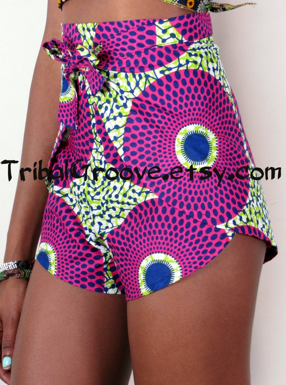 High Waist African Print Pants Shorts Bold Bright African