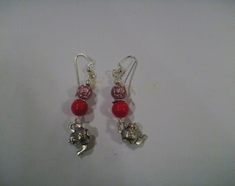 Pink Rose Teapot Earrings