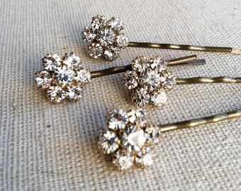 Gold hair pin,Bridal Rhinestone Flower Hairpins 4 pc, gold hairpin,gold bobby pin bronze hairpin hair clip hair pin BRONZE