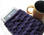 Crochet Purple Kindle Cover, Handcrafted E Reader Case, Crocheted Kindle Sleeve