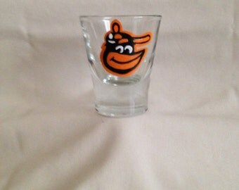 Hand painted Baltimore Orioles shot glass