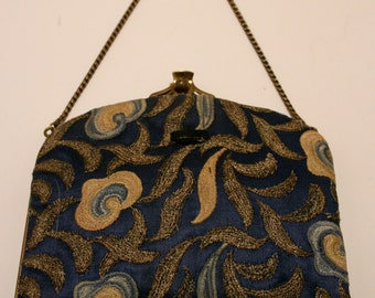 Vintage Vanity - Dance Purse with brass clasp, 4 pockets with original mirror.  Price Reduced!!!