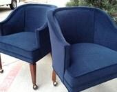 Sapphire Blue Midcentury Barrel Chairs---Haydee McCarthy