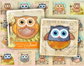 Owl - squares image - digital collage sheet - 1 x 1 inch - Printable Download
