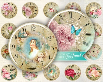 Your Time - circles image - digital collage sheet - 1 x 1 inch - Printable Download