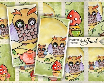 Owl - domino image - digital collage sheet - 1 x 2 inch - Printable Download