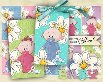 BABY tags - digital collage sheet - set of 10 - Printable Download