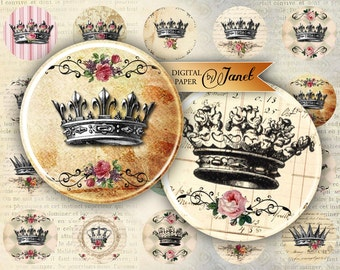 Crowns - circles image - digital collage sheet - 1 x 1 inch - Printable Download