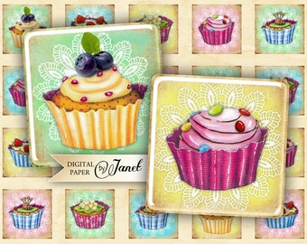 Sweet Cream - squares image - digital collage sheet - 1 x 1 inch - Printable Download